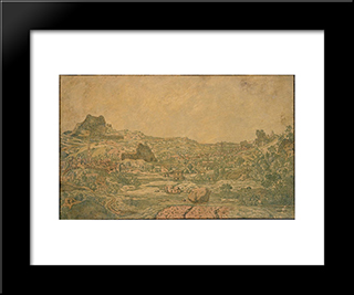 Town With Four Towers: Modern Black Framed Art Print by Hercules Seghers