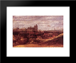 View Of Brussels From The North East: Modern Black Framed Art Print by Hercules Seghers