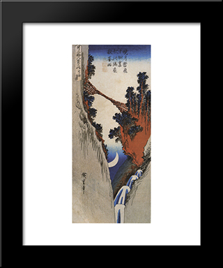A Bridge Across A Deep Gorge: Modern Black Framed Art Print by Hiroshige