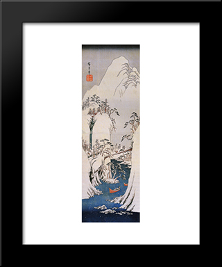 A Snowy Gorge: Modern Black Framed Art Print by Hiroshige
