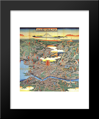A Vision Of Shitamachi: Modern Black Framed Art Print by Hiroshige