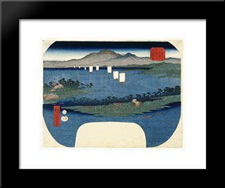 Ama No Hashidate In Tango Province: Modern Black Framed Art Print by Hiroshige