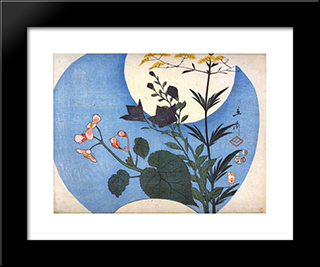 Autumn Flowers In Front Of Full Moon: Modern Black Framed Art Print by Hiroshige