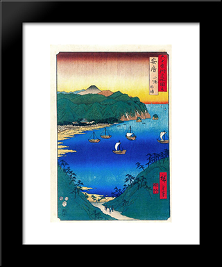 Bay At Kominato In Awa Province: Modern Black Framed Art Print by Hiroshige