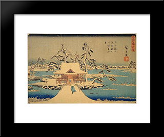 Benzaiten Shrine At Inokashira In Snow: Modern Black Framed Art Print by Hiroshige