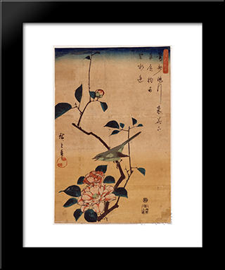 Camellia And Bush Warbler: Modern Black Framed Art Print by Hiroshige