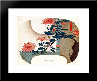 Chrysanthemums: Modern Black Framed Art Print by Hiroshige