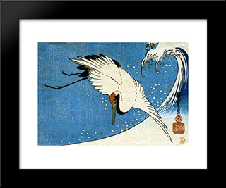 Crane And Wave: Modern Black Framed Art Print by Hiroshige