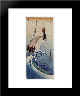 Crane In Waves: Modern Black Framed Art Print by Hiroshige