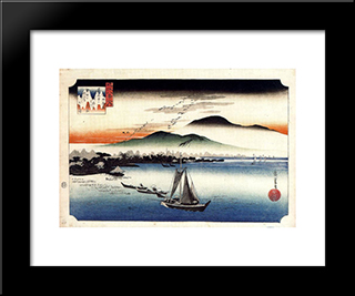 Descending Geese, Katata: Modern Black Framed Art Print by Hiroshige
