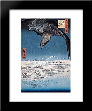 Eagle Over 100,000 Acre Plain At Susaki, Fukagawa (Juman-Tsubo): Modern Black Framed Art Print by Hiroshige