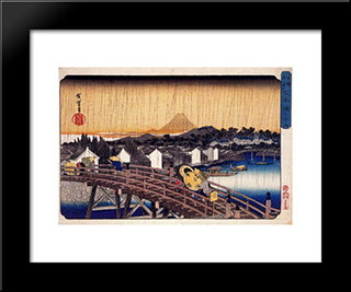 Evening Shower At Nihonbashi Bridge: Modern Black Framed Art Print by Hiroshige