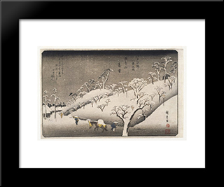 Evening Snow On The Asuka Mountain: Modern Black Framed Art Print by Hiroshige