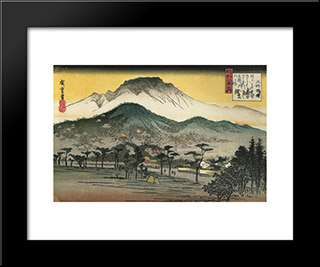 Evening View Of A Temple In The Hills: Modern Black Framed Art Print by Hiroshige