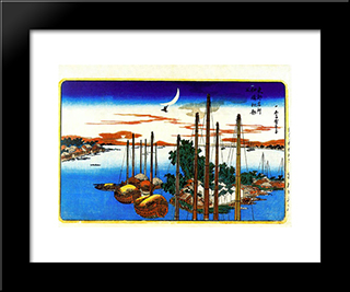 First Cuckoo Of The Year At Tsukudajima: Modern Black Framed Art Print by Hiroshige