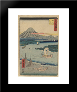 Folio From The Upright Gojusan Tsuji Tokaido: Modern Black Framed Art Print by Hiroshige