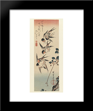 Four Swallows: Modern Black Framed Art Print by Hiroshige