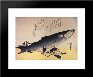 Grey Mullet And Camellia: Modern Black Framed Art Print by Hiroshige