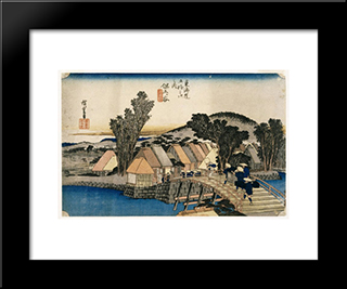 Hodogaya, Shinkame Bashi, Station 5: Modern Black Framed Art Print by Hiroshige