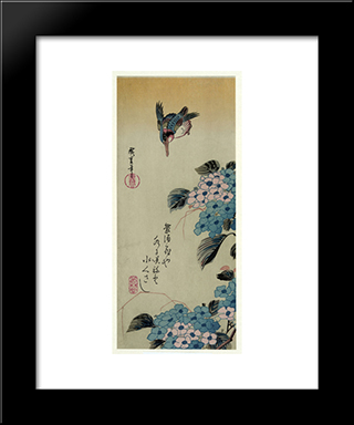 Hydrangea And Kingfisher: Modern Black Framed Art Print by Hiroshige