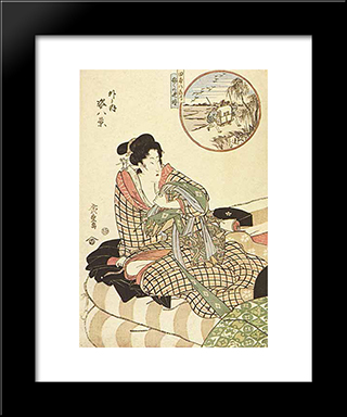 In Circle, Figure Piece, (Outdoor) : Custom Black Wood Framed Art Print by Hiroshige