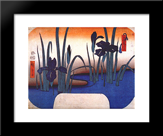 Iris: Modern Black Framed Art Print by Hiroshige
