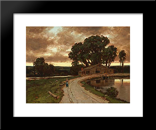 Figure On The Road And Farmhouse At Sunset: Modern Black Framed Art Print by Homer Watson