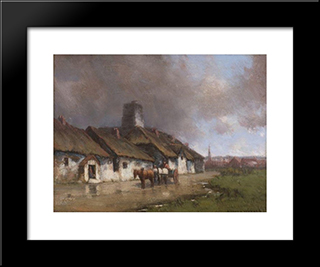 Horse And Cart With Cottage Under Stormy Sky: Modern Black Framed Art Print by Homer Watson