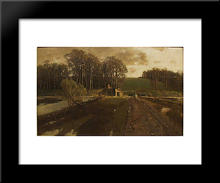 Horse And Rider In A Landscape: Modern Black Framed Art Print by Homer Watson