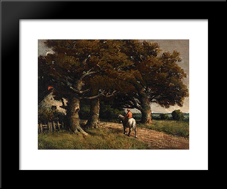 Landscape With Horse And Rider: Modern Black Framed Art Print by Homer Watson