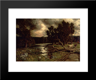 Near The Close Of A Stormy Day: Modern Black Framed Art Print by Homer Watson