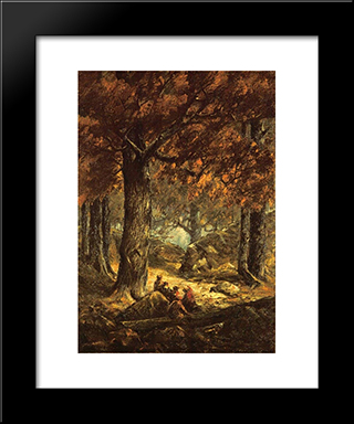Nut Gatherers In The Forest: Modern Black Framed Art Print by Homer Watson