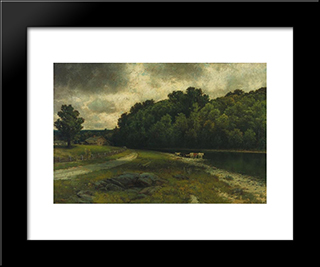On The Grand River At Doon: Modern Black Framed Art Print by Homer Watson