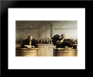 A Famous Cause: Modern Black Framed Art Print by Honore Daumier