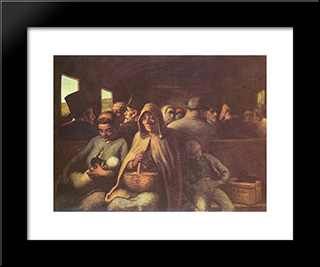 A Wagon Of The Third Class: Modern Black Framed Art Print by Honore Daumier