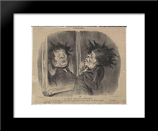 Adolphe Cremieux (Mr Cremieux Seeking An Apartment): Modern Black Framed Art Print by Honore Daumier