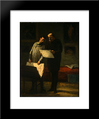 Advice To A Young Artist: Modern Black Framed Art Print by Honore Daumier