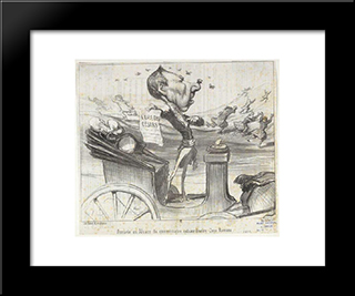 Arrival Of The Special Commissioner In Alsace Coco Romieu: Modern Black Framed Art Print by Honore Daumier