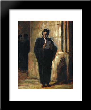 Attorney Reading: Modern Black Framed Art Print by Honore Daumier