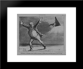 Babinet Deciding To Go Off The Sun: Modern Black Framed Art Print by Honore Daumier