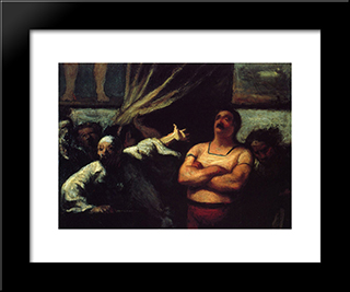 Barker At A Fair Booth: Modern Black Framed Art Print by Honore Daumier