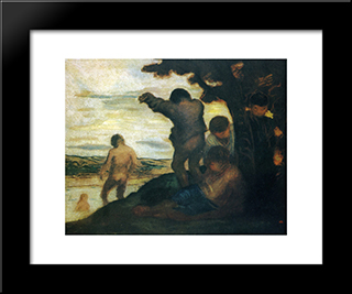 Bathers: Modern Black Framed Art Print by Honore Daumier