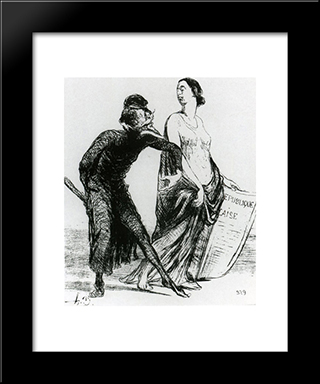Beautiful Injury, Want You To Accept My Arm: Modern Black Framed Art Print by Honore Daumier