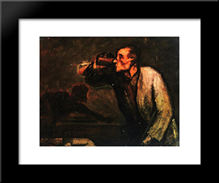 Billiard Players (The Drinker): Modern Black Framed Art Print by Honore Daumier