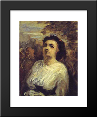 Bust Of A Woman: Modern Black Framed Art Print by Honore Daumier