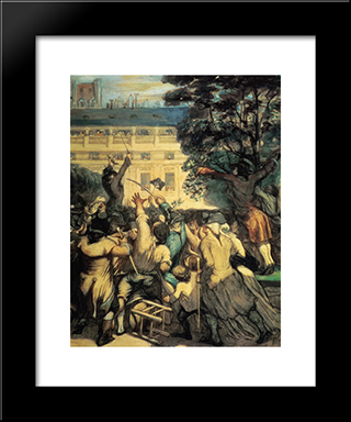 Camille Desmoulins In The Palais Royal: Modern Black Framed Art Print by Honore Daumier
