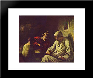 Catch The Juggler: Modern Black Framed Art Print by Honore Daumier