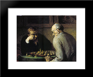 Chess-Players: Modern Black Framed Art Print by Honore Daumier