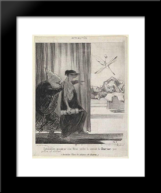 Clytemnestra Pushed By Mimi Veron (Rachel): Modern Black Framed Art Print by Honore Daumier