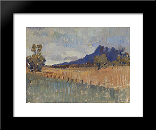 Northern Landccape (Flinders Ranges Landscape With Rain Approaching): Modern Black Framed Art Print by Horace Trenerry